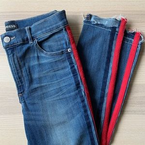Express Ankle Legging High Rise Jeans - Red Stripe